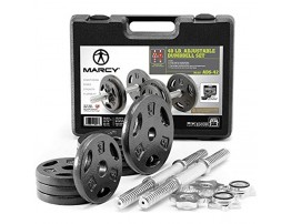 Marcy Adjustable Cast Iron Dumbbell Set with Case Plates Handles and Collars ADS-42 Chrome 40 lb.