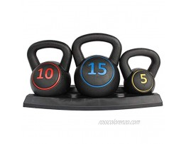 HooKung 3-Piece Kettlebell for Home Gym and Home Workouts Exercise Fitness Weight Set w  5lb 10lb 15lb Weights Base Rack