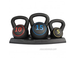 KL KLB Sport Wide Grip 3-Piece HDPE Kettlebell Exercise Fitness Weight Set Include 5 lbs 10 lbs 15 lbs Weights Kettlebells with Base Rack for Home Gym and Workouts