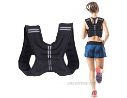 Domaker 12lbs Weighted Vest with 5lbs Adjustable Ankle Wrist Weights Set,Body Weight Vests with Reflective Stripe for Running,Training,Workout,Cardio,Jogging,Walking,Black