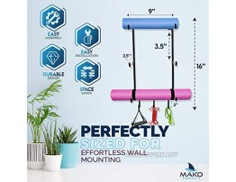 Mako Products Yoga Mat Rack Yoga Mat Holder Wall Mount for Foam Roller Resistance Band Small Workout Tools and Yoga Mat Storage to Help Organize Your Home Gym.