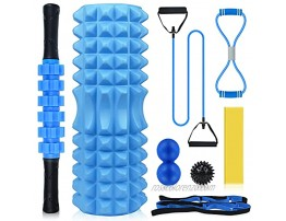 LIZCOM Foam Roller Set 8 in 1 Massage Roller with Yoga Foam Roller Muscle Roller Stick Resistance Band Figure 8 Exercise Band,Peanut Lacrosse Ball,Spiky Massage Ball,Stretching Strap Fitness