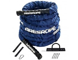 Battle Rope 1.5 Inch Heavy Battle Exercise Training Rope Workout Rope 100% Dacron Fitness Rope for Strength Training Home Anchor Strap Kit Included