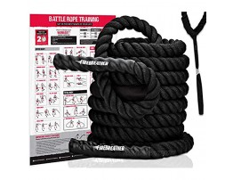 Battle Rope with Foldable Poster and Anchor KIT. Full Body Workout Equipment for Crossfit Training Home Gym or Fitness Exercise. Poly Dacron Heavy Battling Ropes for Strength