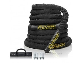 POWER GUIDANCE Battle Rope 1.5 2 Inch Diameter Poly Dacron 30 40 50Ft Length Exercise Equipment for Home Gym & Outdoor Workout Battle Rope Anchor Included