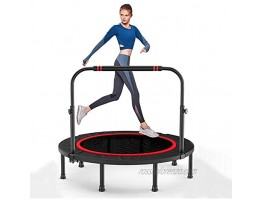 Deefielly Foldable Mini Trampoline for Kids 48'' Fitness Rebounder for Adult with Adjustable Foam Handle Bar 48Inch Indoor Garden Trampoline Workout Jumping Cardio Trainer Max Load 330Lbs