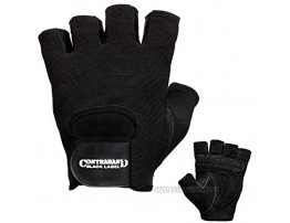 Contraband Black Label 5450 Heavy Duty Double Layer Gel Padded Leather Weight Lifting Gloves Pair Heavy Padded Gym Gloves Durable Split Leather Palm with Nylon 4Way Mesh Top