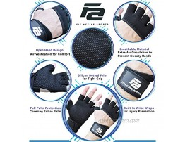Fit Active Sports RX2 Weight Lifting Workout Gloves with Built in Wrist Wraps Cross Training Gloves with Wrist Support Durable Non-Slip Palm Silicone Padding to Avoid Calluses for Men and Women