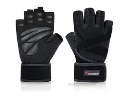 """Padded Weight Lifting Gloves Gym Gloves Workout Gloves with Built-in 19"""" Wrist Wraps Exercise Gloves for Cross Training Pull Ups Fitness Powerlifting"""