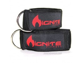 Ignite Fitness Neoprene Ankle Straps Intensify Your Machine Cable Workouts for Abs Legs and Glutes Durable Fitness Cuffs with D Ring Fits Both Men and Women
