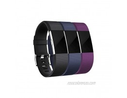 Maledan Bands Replacement Compatible with Fitbit Charge 2 3-Pack Small Black Blue Plum