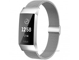 MioHHR Metal Bands Compatible with Fitbit Charge 3 Charge 4 Bands for Women Men Breathable Stainless Steel Replacement Wristband Accessories for Charge 3 SE Fitness Activity Tracker Silver