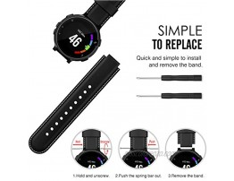 MoKo Watch Band Compatible with Garmin Forerunner 235 Premium Genuine Leather Watch Strap Fit Garmin Forerunner 235 235 Lite 220 230 620 630 735XT Approach S20 S6 S5 Smart Watch Black